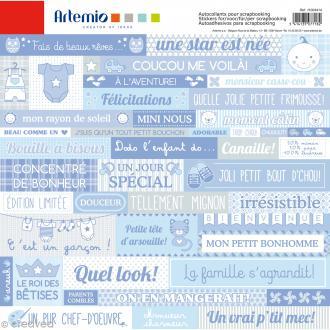 Stickers Artemio - Baby Boy - 1 planche 30,5 x 30,5 cm