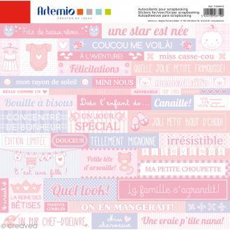 Stickers Artemio - Baby Girl - 1 planche 30,5 x 30,5 cm