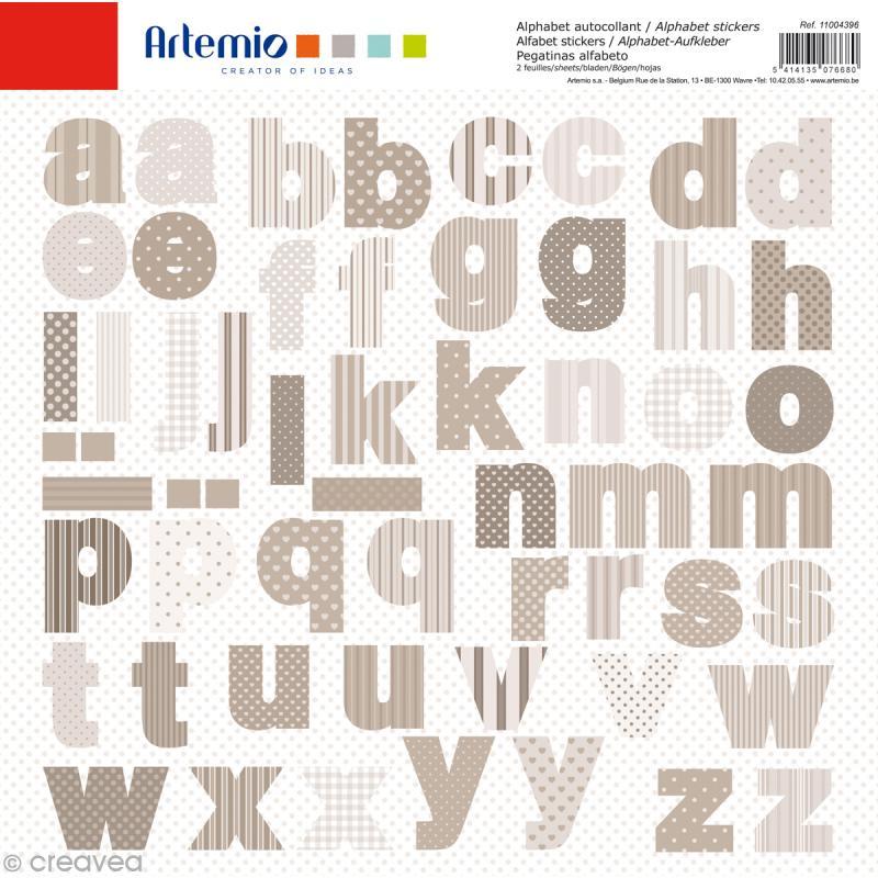 Stickers Alphabet Artemio - Charme - 2 planches 30,5 x 30,5 cm - 100 pcs - Photo n°1