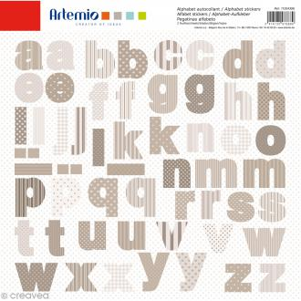 Stickers Alphabet Artemio - Charme - 2 planches 30,5 x 30,5 cm - 100 pcs