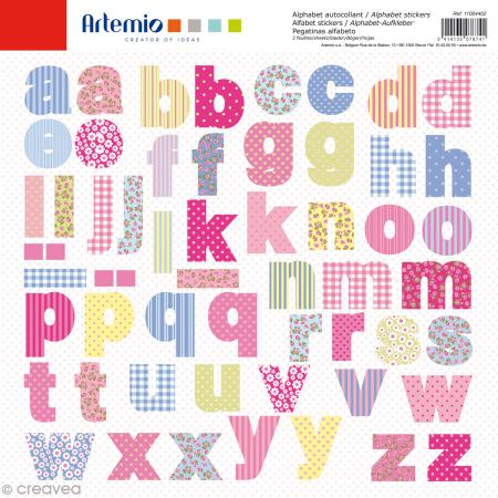Stickers Alphabet Artemio - Sweet - 2 planches 30,5 x 30,5 cm - 100 pcs - Photo n°1