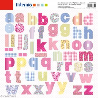 Stickers Alphabet Artemio - Sweet - 2 planches 30,5 x 30,5 cm - 100 pcs