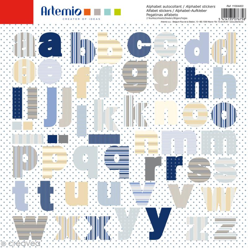 Stickers Alphabet Artemio - Long Island - 2 planches 30,5 x 30,5 cm - 100 pcs - Photo n°1