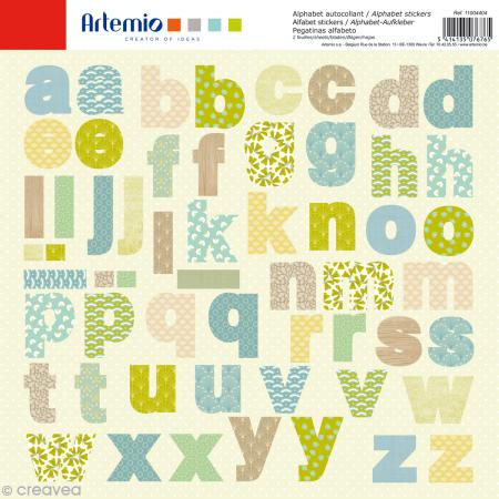 Stickers Alphabet Artemio - Pure - 2 planches 30,5 x 30,5 cm - 100 pcs - Photo n°1