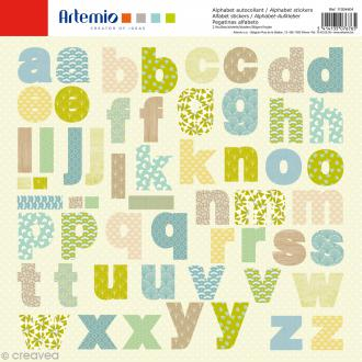 Stickers Alphabet Artemio - Pure - 2 planches 30,5 x 30,5 cm - 100 pcs