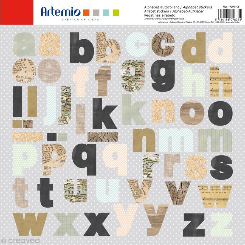 Stickers Alphabet Artemio - Vintage - 2 planches 30,5 x 30,5 cm - 100 pcs - Photo n°1