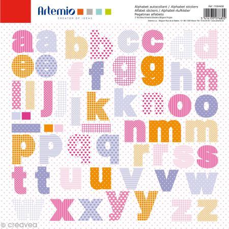 Stickers Alphabet Artemio - Girl - 2 planches 30,5 x 30,5 cm - 100 pcs - Photo n°1