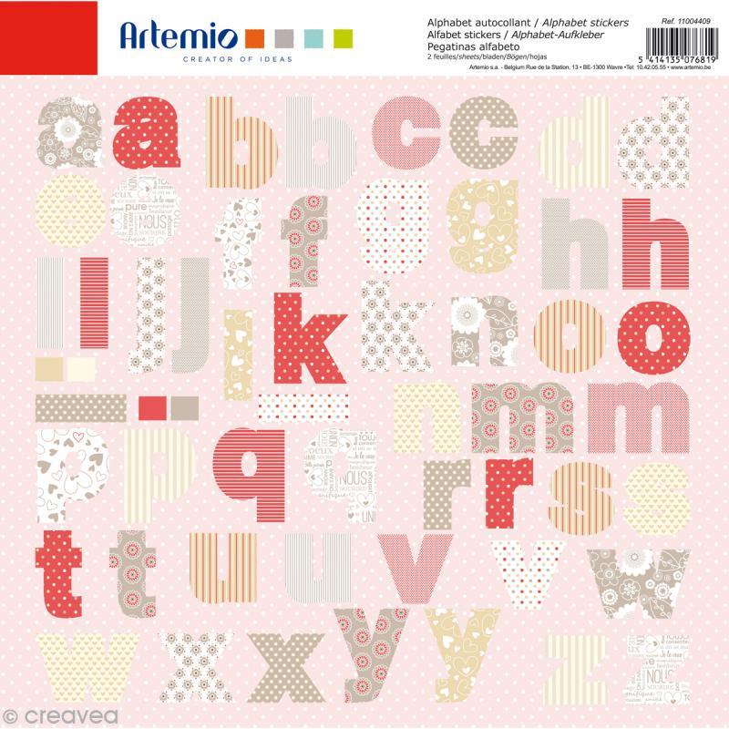 Stickers Alphabet Artemio - Love - 2 planches 30,5 x 30,5 cm - 100 pcs - Photo n°1
