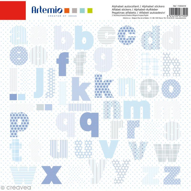Stickers Alphabet Artemio - Baby Boy - 2 planches 30,5 x 30,5 cm - 100 pcs - Photo n°1