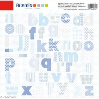 Stickers Alphabet Artemio - Baby Boy - 2 planches 30,5 x 30,5 cm - 100 pcs