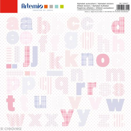Stickers Alphabet Artemio - Baby Girl - 2 planches 30,5 x 30,5 cm - 100 pcs - Photo n°1