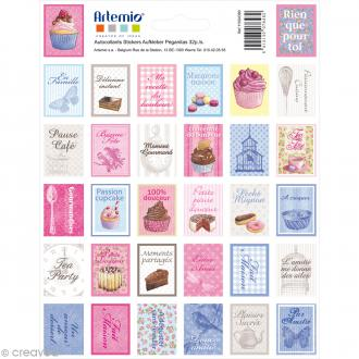 Stickers timbre décoratif - Sweet - 3,3 x 2,7 cm - 64 pcs