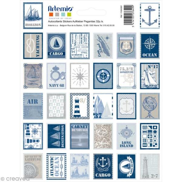 Stickers timbre décoratif - Long Island - 3,3 x 2,7 cm - 64 pcs - Photo n°1