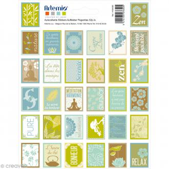 Stickers timbre décoratif - Pure - 3,3 x 2,7 cm - 64 pcs