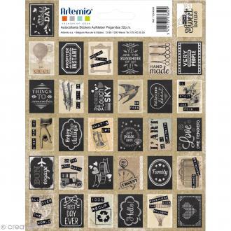 Stickers timbre décoratif - Vintage - 3,3 x 2,7 cm - 64 pcs
