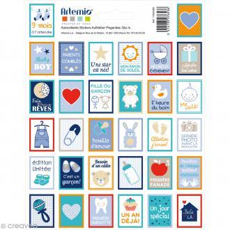 Stickers timbre décoratif - Boy - 3,3 x 2,7 cm - 32 pcs