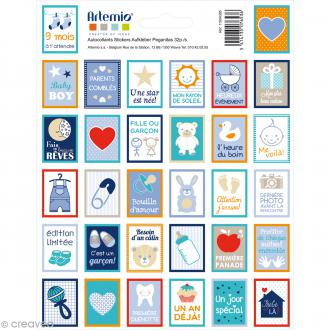 Stickers timbre décoratif - Boy - 3,3 x 2,7 cm - 64 pcs