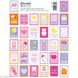Stickers timbre décoratif - Girl - 3,3 x 2,7 cm - 64 pcs