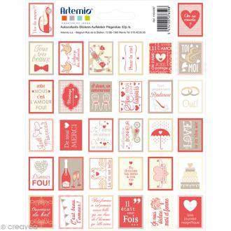 Stickers timbre décoratif - Love - 3,3 x 2,7 cm - 32 pcs