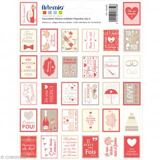 Stickers timbre décoratif - Love - 3,3 x 2,7 cm - 64 pcs