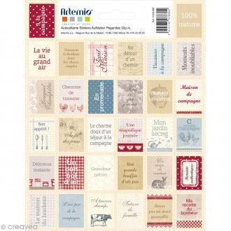 Stickers timbre décoratif - Campagne - 3,3 x 2,7 cm - 64 pcs