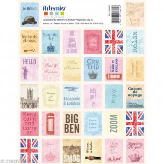 Stickers timbre décoratif - Londres - 3,3 x 2,7 cm - 64 pcs