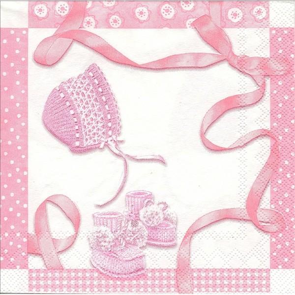 4 Serviettes en papier Naissance Baby Shower Format Cocktail - Photo n°1