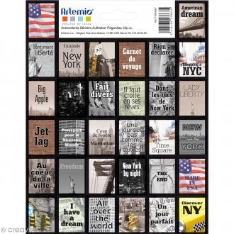 Stickers timbre décoratif - New York - 3,3 x 2,7 cm - 64 pcs