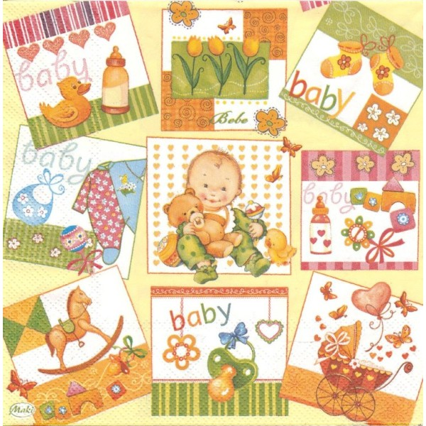 4 Serviettes en papier Naissance Vignettes Format Lunch Collage Decopatch SLOG-012201 Pol-Mak - Photo n°1