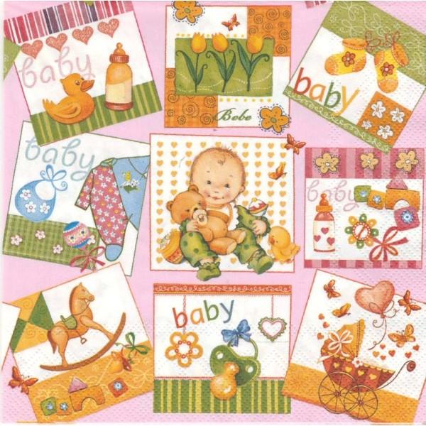 4 Serviettes en papier Naissance Vignettes Format Lunch Collage Decopatch SLOG-012202 Pol-Mak - Photo n°1