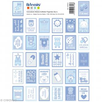 Stickers timbre décoratif - Baby Boy - 3,3 x 2,7 cm - 64 pcs