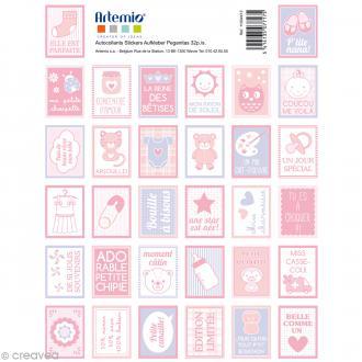 Stickers timbre décoratif - Baby Girl - 3,3 x 2,7 cm - 64 pcs