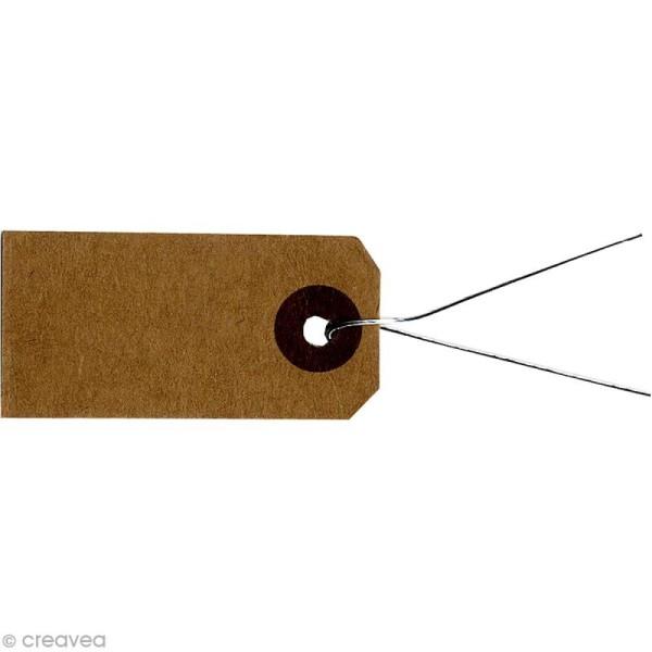 Etiquettes papier kraft marron avec fil métal - 4 x 2 cm - 50 pcs - Photo n°1