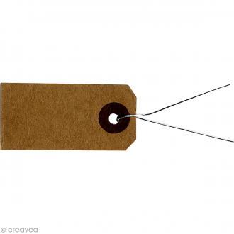 Etiquettes papier kraft marron avec fil métal - 4 x 2 cm - 50 pcs