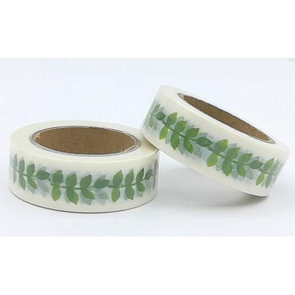Masking tape blanc feuilles vertes 15mm x 10m - Photo n°1