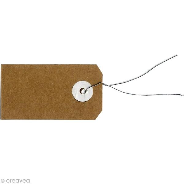 Etiquettes papier kraft marron avec fil métal - 3,5 x 5 cm - 50 pcs - Photo n°1