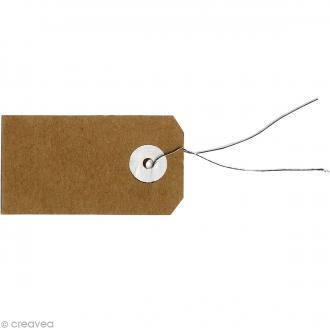Etiquettes papier kraft marron avec fil métal - 3,5 x 5 cm - 50 pcs