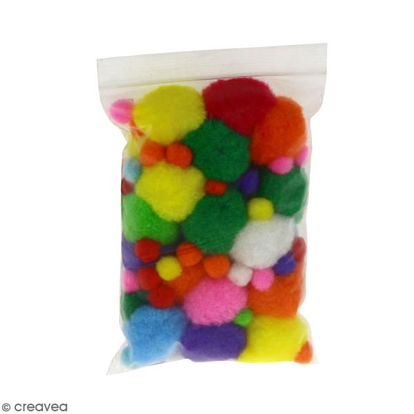 Lot de mini pompons - Couleurs et dimensions assorties - 100 pcs - Photo n°1
