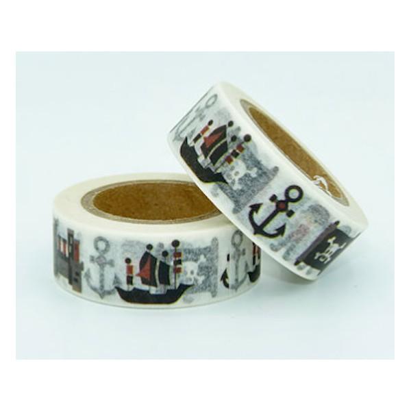 Masking tape pirates noir et blanc 15mm x 10m - Photo n°1