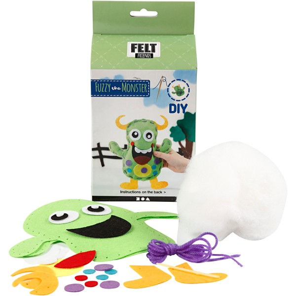 Kit feutrine Felt Friends - Fuzzy le monstre vert - Photo n°1