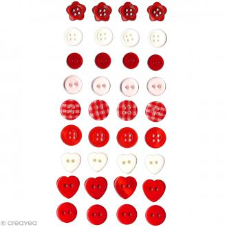 Assortiment boutons Rouge Artemio - 40 pcs