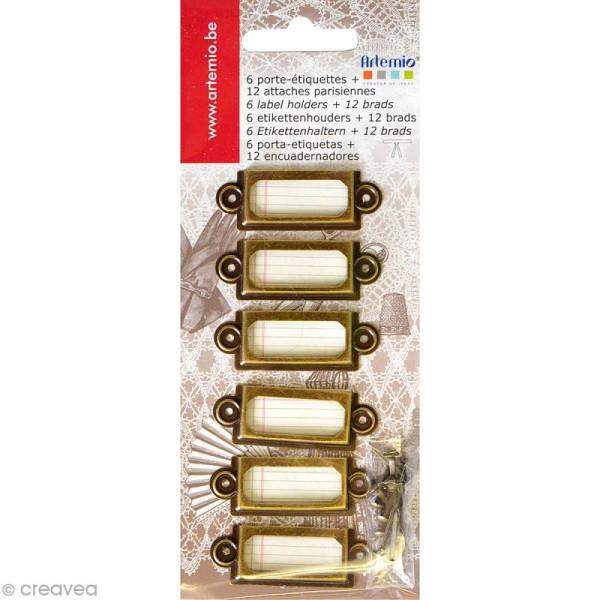 Lot porte-étiquettes vintage - 4,5 x 1,5 cm - Bronze - 6 pcs - Photo n°1