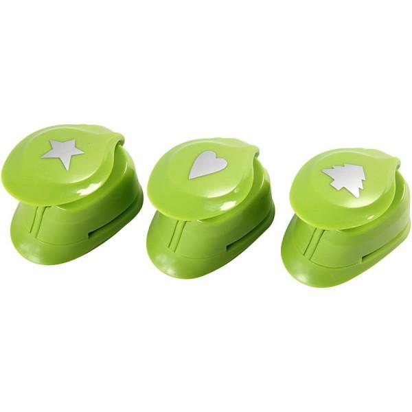Set de 3 perforatrices fantaisies - Etoile, coeur et sapin - 2,5 cm - Photo n°1