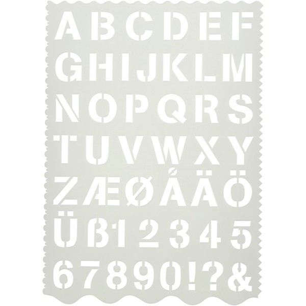 Pochoir alphabet et chiffres - Lettres de 2,6 cm - Photo n°1