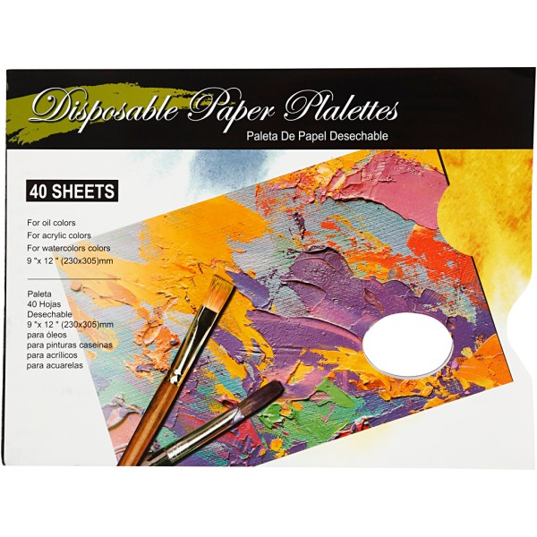 Palette de peinture en papier 31 x 23 cm - Bloc de 40 feuilles - Photo n°1