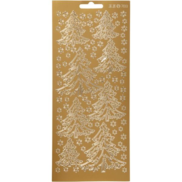 Stickers Peel Off Sapins - Doré - Planche de 10x23 cm - Photo n°1