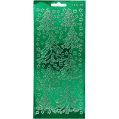 Stickers Peel Off Sapins - Vert - Planche de 10x23 cm