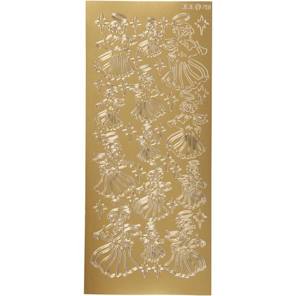 Stickers Peel Off Ange - Doré - Planche de 10x23 cm - Photo n°1