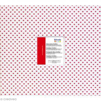 Album photo Scrapbooking Petits coeurs rouges avec fenêtre - 31 x 35 cm