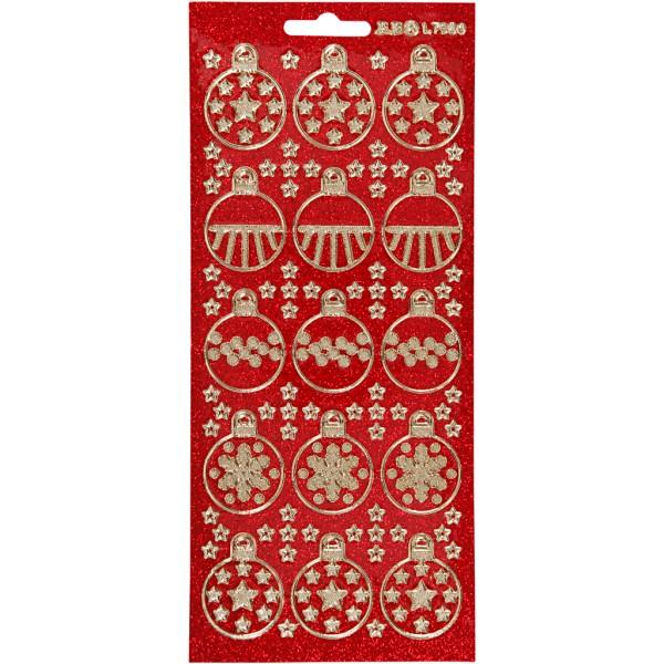 Stickers Peel Off Bougies - Doré fond Rouge - Planche de 10x23 cm - Photo n°1